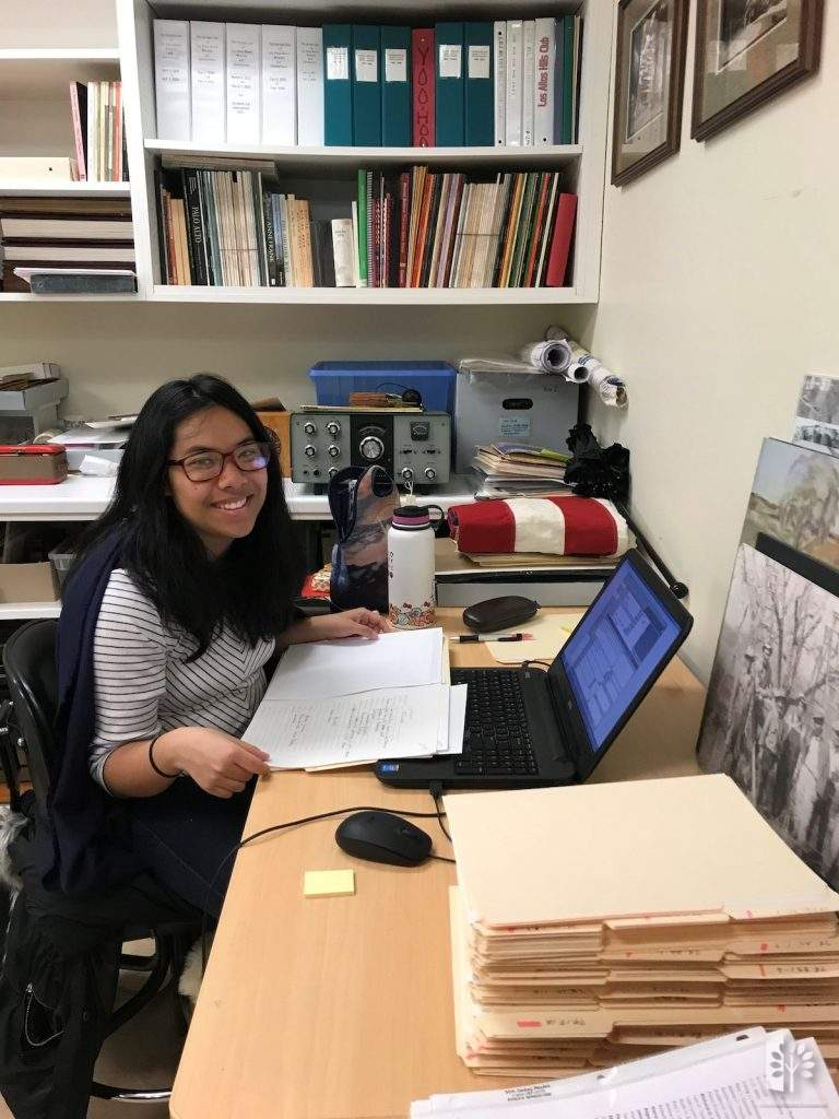 Foothill Intern, Karen Quero cataloguing notes for the historic photo collection