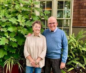 Jane and John Reed in front of their Los Altos Home, August 2020.
