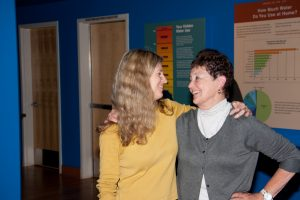 """""""Shaped by Water"""" Curator Linda Gass & Jane, happy installation is nearly done, 10/5/11."""