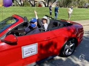 "Former Mayor Jane Reed in ""Women on Wheels"" Car Parade, Aug 26, 2020."