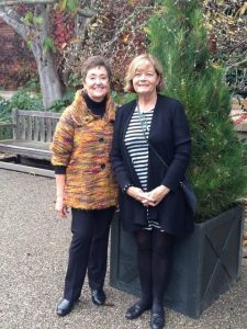 Jane Reed and Marie Backs, doing exhibit research at Filoli.