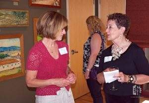 """Jane at Opening Reception """"Hearts Delight"""" exhibit, July 7, 2011."""