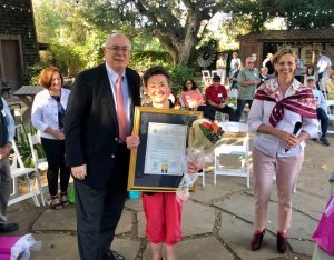 Joe Simitian presents Jane with special recognition award, June 2019.