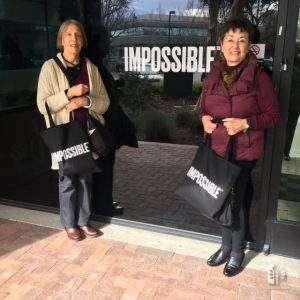 """Margie Alving and Jane at Impossible Burger launch, for """"Silicon Valley Eats"""" exhibit."""