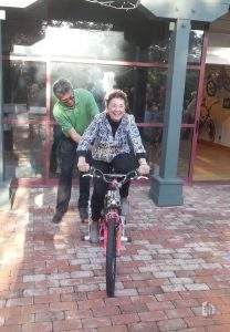 """Jane's pedal power at """"Pedal Power"""" exhibit, April 2014."""