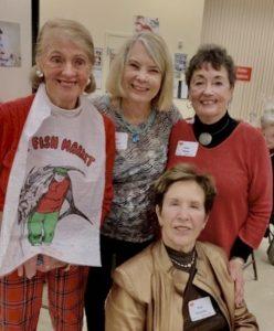 Pinky Whelan, Judie Johnson, Jane & Nan Geshke, Final Crab Feed, Feb 2019.